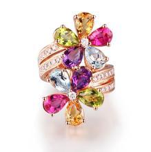 Women Luxury Jewelry Rose Gold Ring Delicate Multi-color Cubic Zirconia Crystal Flower Elegant Temperament Wedding Ring