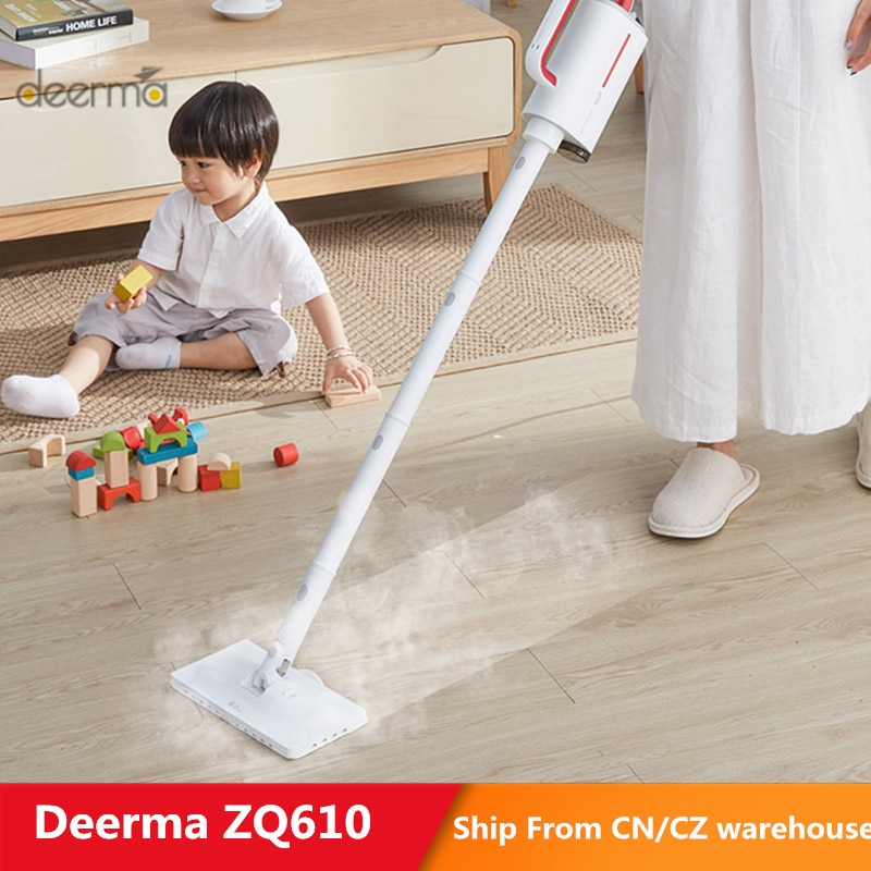 Deerma dem-zq610 limpador de vapor elétrico handheld vapor mop limpador de chão 5 anexos máquina de limpeza tanque de água anti-seco