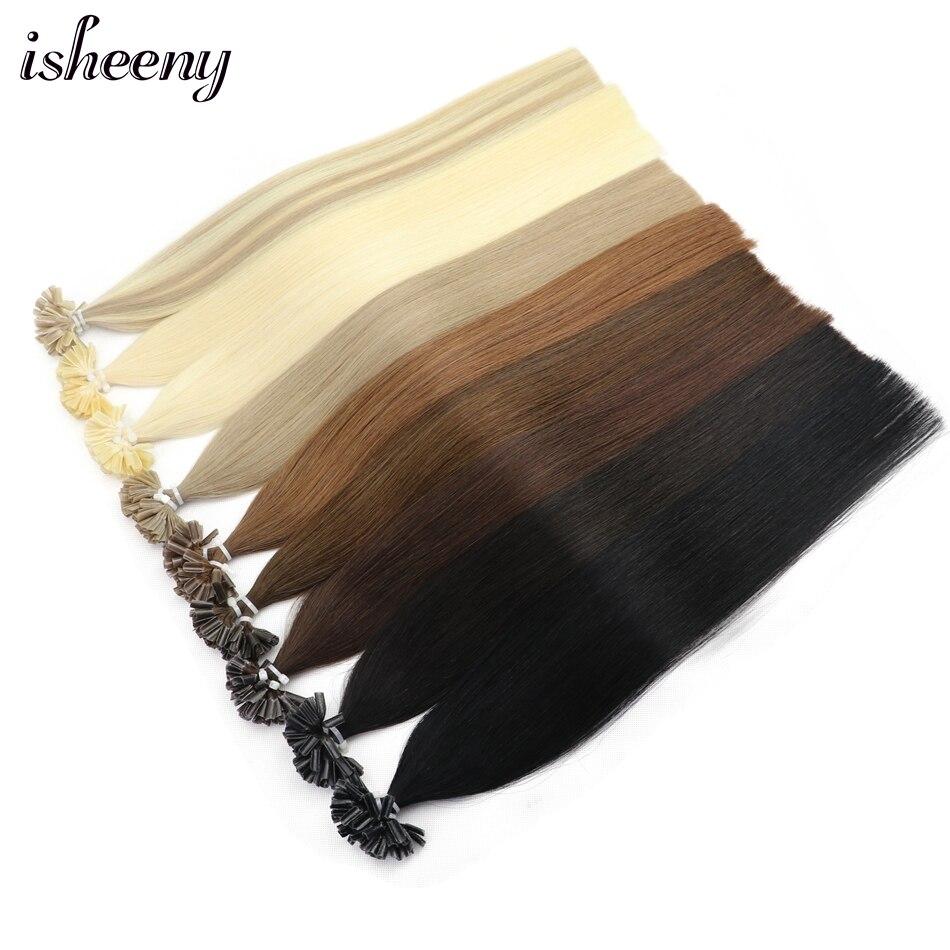 Isheeny 12 дюймов 14 18 20 22 дюйма накладные волосы Remy u образные прямые предварительно