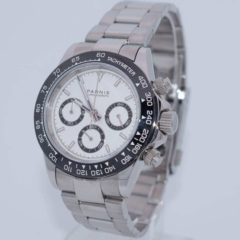 Cristal de zafiro PARNIS, esfera blanca de 39mm, marcas luminosas, bisel de cerámica, función de cronógrafo completo, relojes de cuarzo con movimiento para hombres
