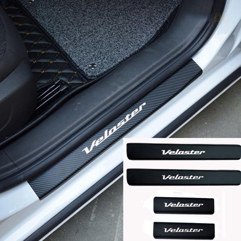 4 uds, Protector de alféizar de puerta de coche, pegatina de vinilo de fibra de carbono para Hyundai Veloster