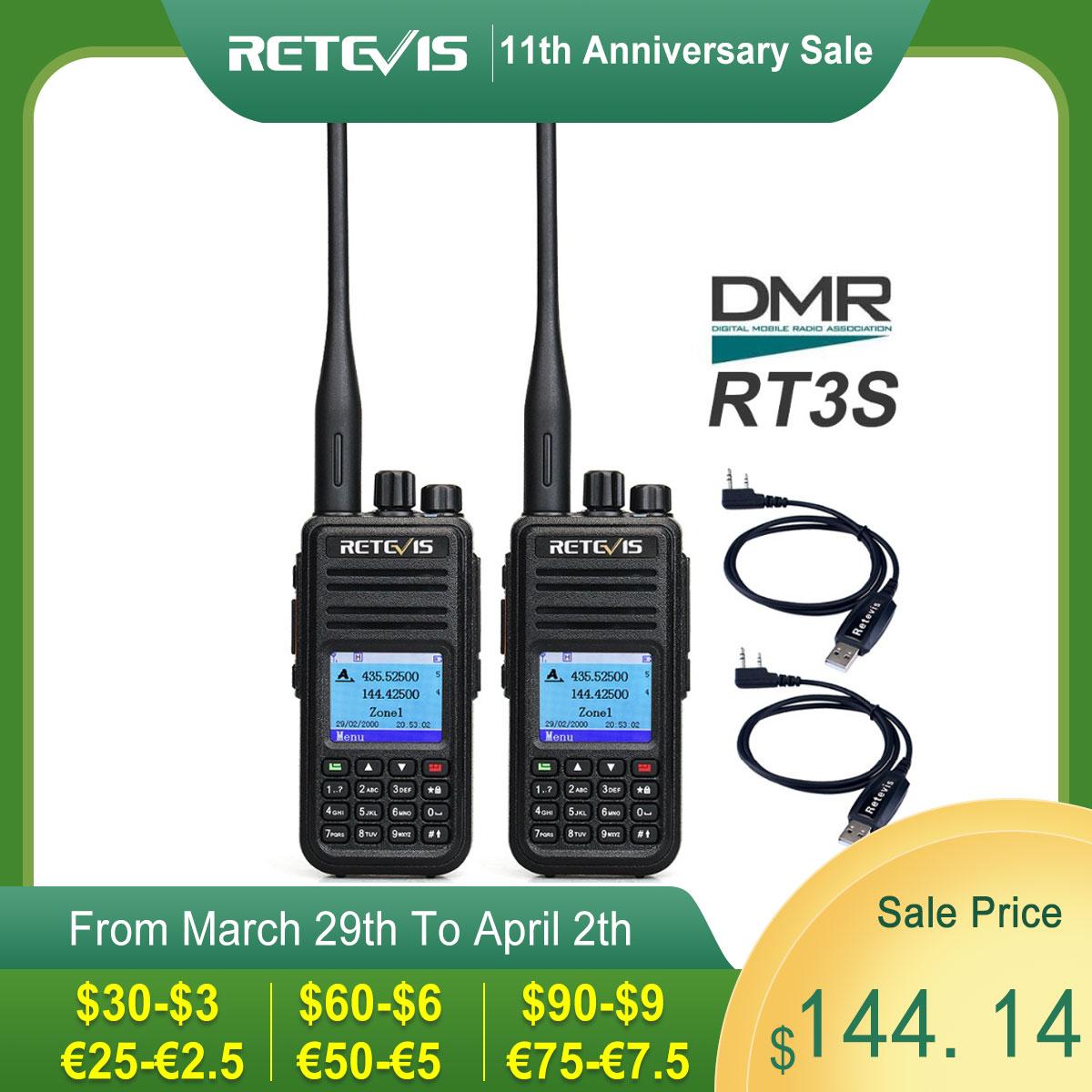DMR Dual Band Digital Walkie Talkie 2pcs Retevis RT3S VHF UHF GPS Ham Radio Amador Transceiver Portable Two Way Radio Station