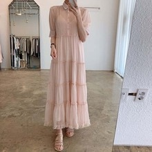 New Summer Chic Sweet Ruffles Short Sleeve Pink Turn Down Collar Dress Women fairy Pleated Hollow Ou
