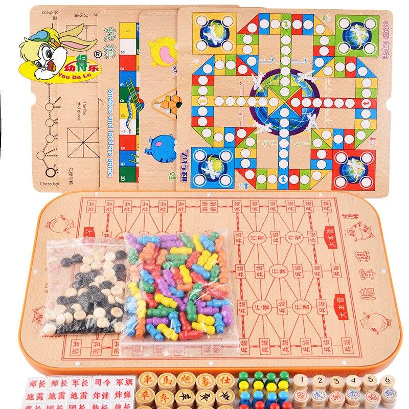 Multi-funcional ajedrez veintitrés una damas juguetes de madera aeroplano ajedrez damas juguete educativo para niños ajedrez adulto