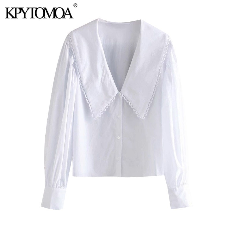 KPYTOMOA Women 2020 Sweet Fashion With Embellished Trim Loose Blouses Vintage Long Sleeve Button-up Female Shirts Chic Tops
