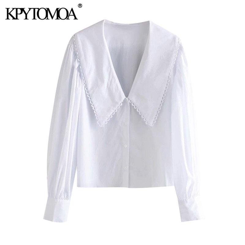 KPYTOMOA Women 2020 Sweet Fashion With Embellished Trim Loose Blouses Vintage Long Sleeve Button-up Female Shirts Chic Tops