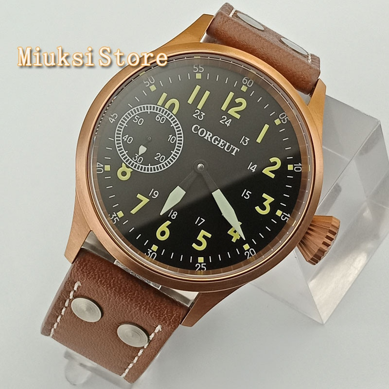 Moda clássico relógio mecânico homem Corgeut 43mm bronze chapeado caixa de vidro de safira 6497 mão mens sinuosas assista 2636