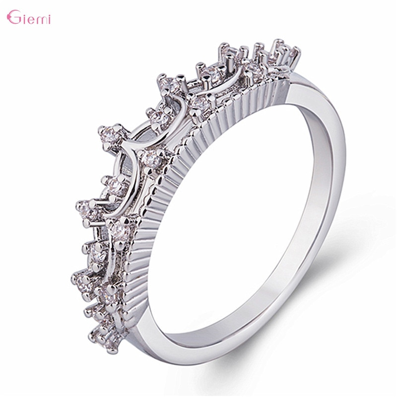 Authentic 925 Sterling Silver Princess Queen Crown Pattern Sparkling CZ Rings for Women Engagement Anniversary Jewelry authentic 925 sterling silver rings tiara wishbone ring for women engagement jewelry anniversary