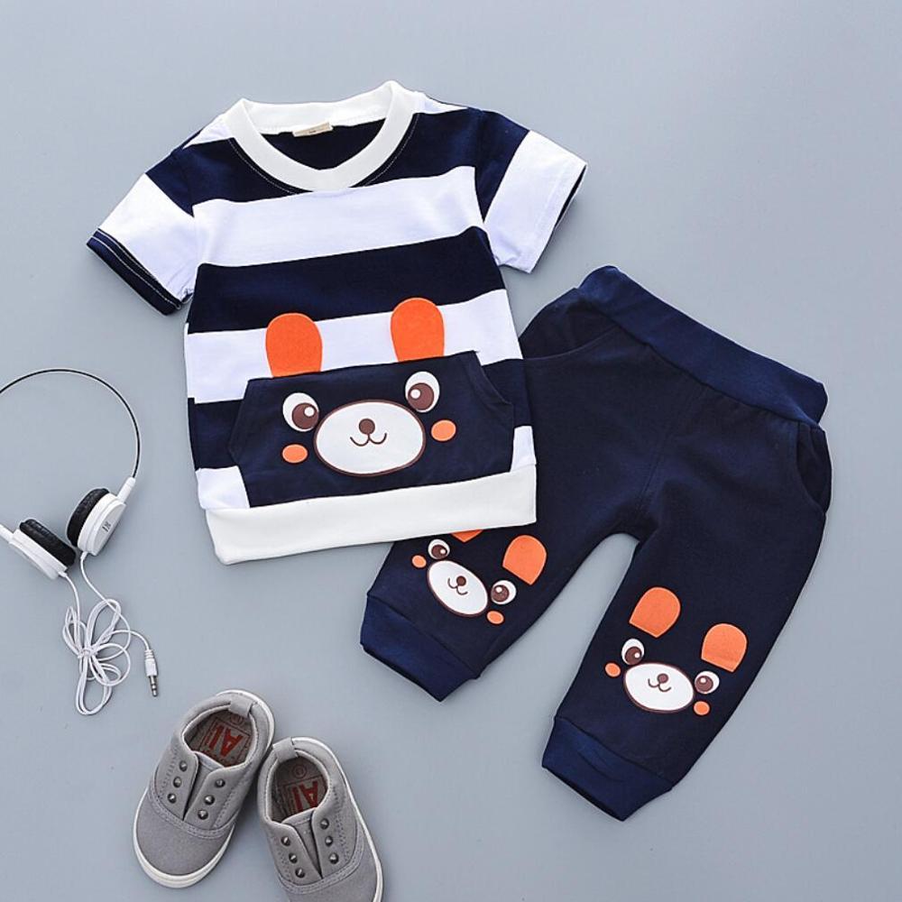 Conjuntos de ropa de niño de verano a rayas de dibujos animados BearT shirt + Pants Kids Boys Clothes Suit ropa de bebé ropa Casual