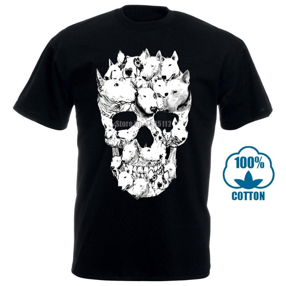 Men T Shirt Bull Terrier Skull Awesome Tagless Tee Funny T Shirt Novelty Tshirt Women