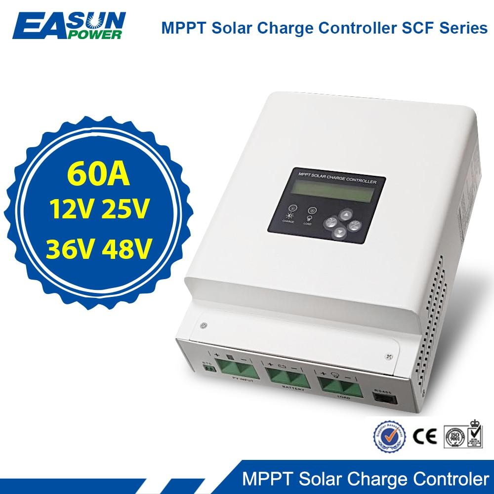 60A MPPT Solar Charger Controller 12V 24V 36V 48Vc Auto Tracking Battery Charger Max 150VDC Back-light LCD Solar Regulator