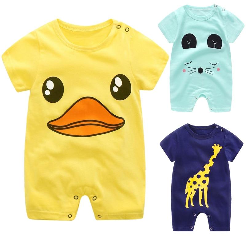 DMDM PIG 2020 Summer Short Sleeved Girls Dress Baby Romper Cotton Newborn Body Suit Baby Pajama Boys Cartoon Rompers Size 6M-18M