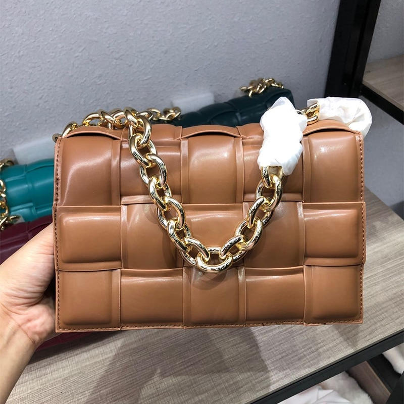 Golden Metal Chain PU Leather Messenger Bag Luxury Women Bag Designer Female Trend Plaid Shoulder Bag Lady Purse and Handbag Ins