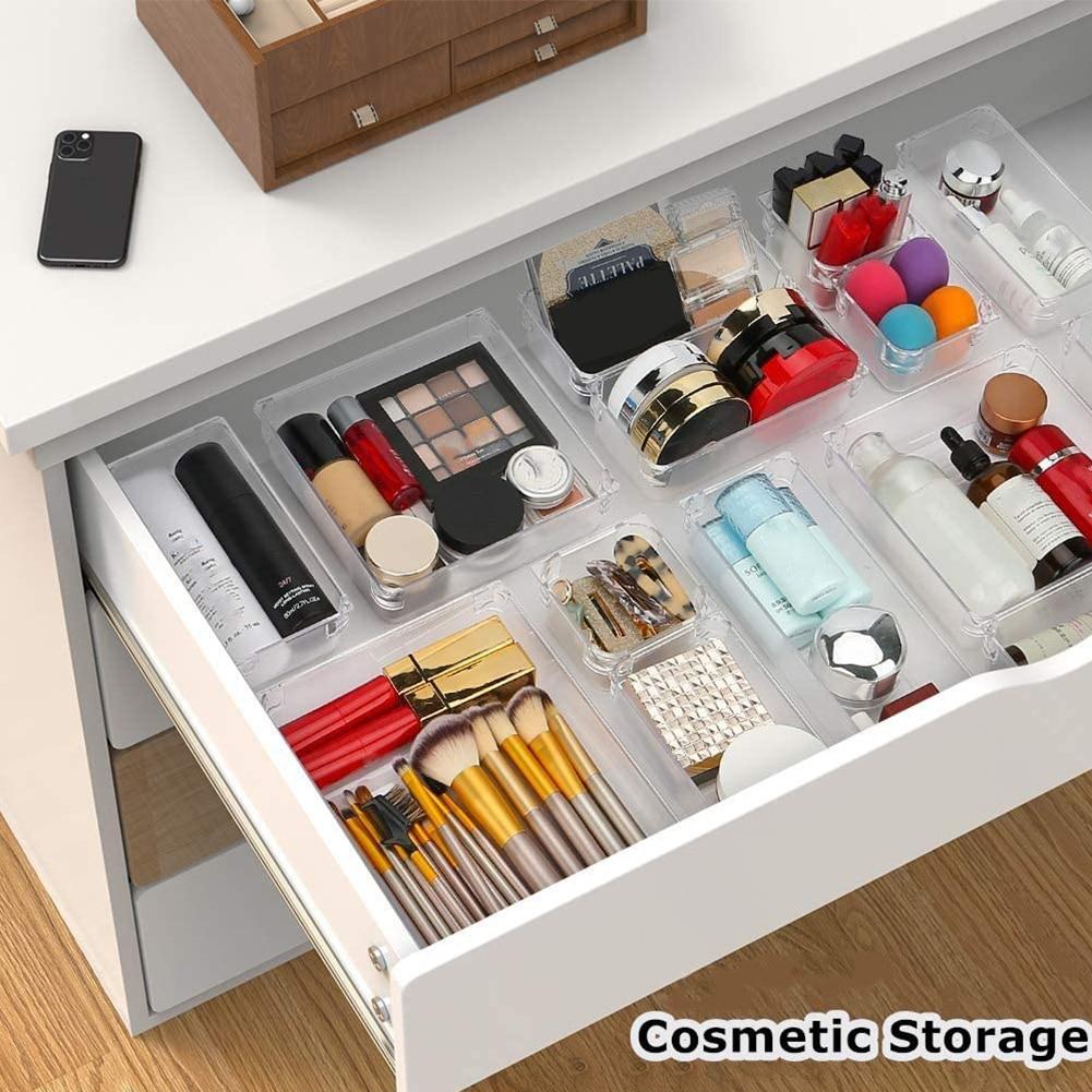 Clear Drawer Organizer - Drawer Dividers Storage Tray Bathroom Make-Up Organiser Kitchen Cabinet Cho