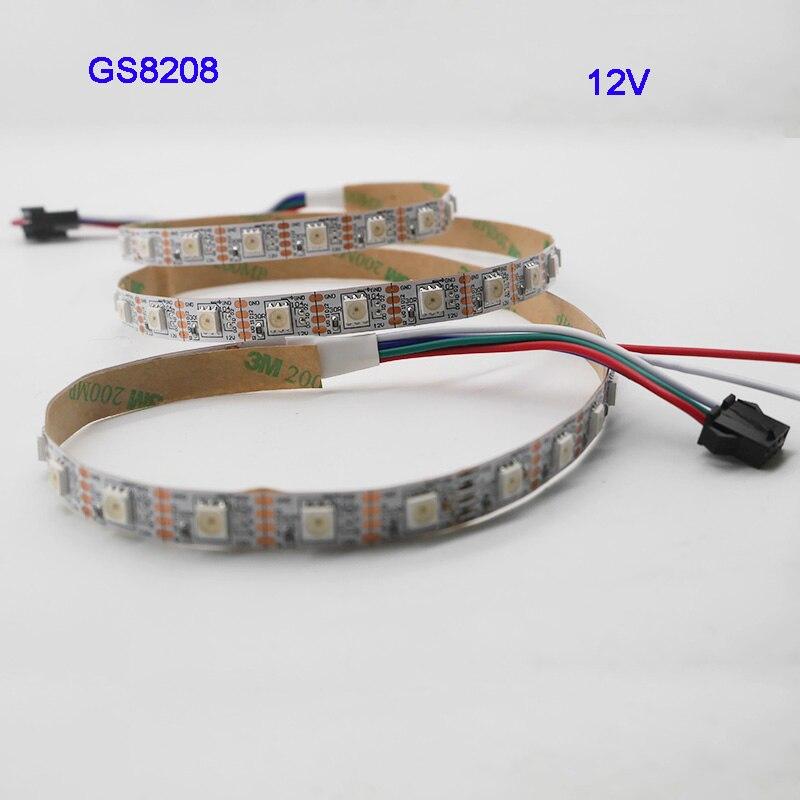 1m/3m/5m GS8208 de tira LED RGB 30/60/144 píxeles/leds/m WS2811 actualizado DC12V... IP30/IP65/IP67 negro/blanco PCB SMD 5050 RGB