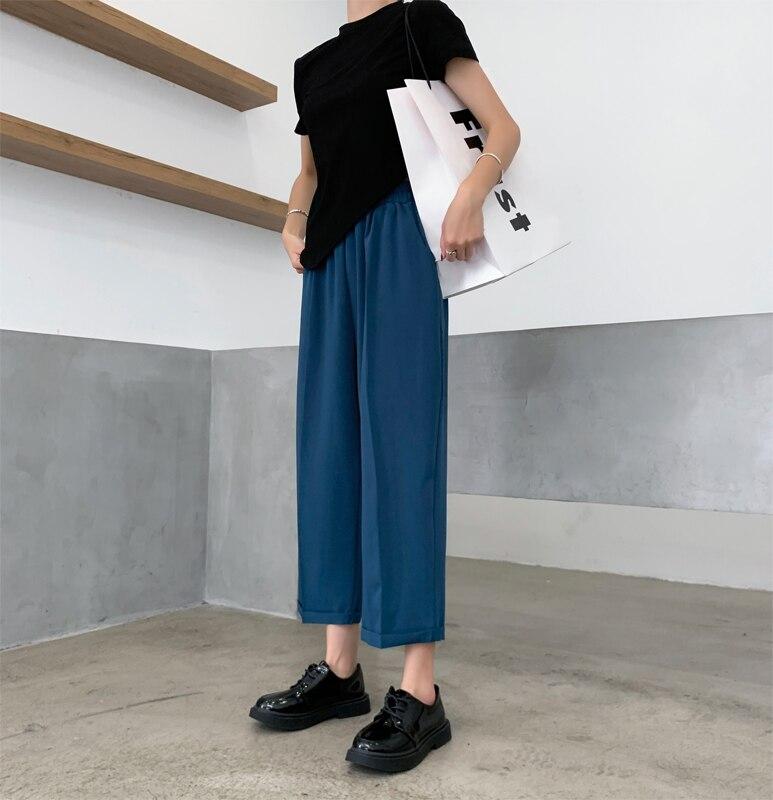 wide-legged pants female summer thin high waist fashion casual trousers 661#