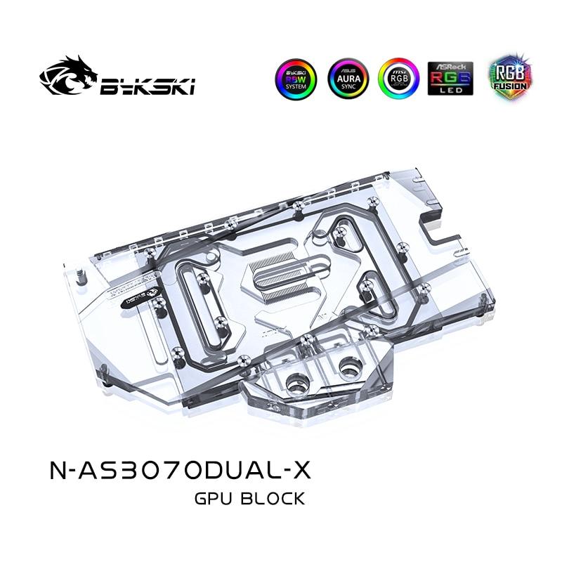 Bykski Water Block Use for ASUS GeForce DUAL RTX 3070 8G GPU Card / Full Cover Copper Radiator / RGB Light