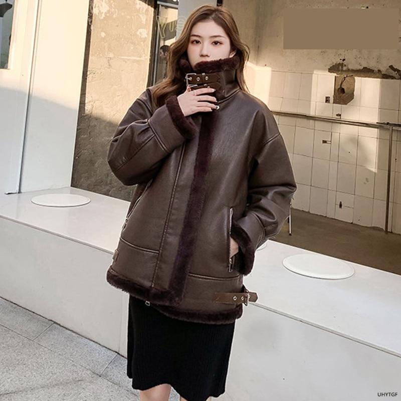 UHYTGF Women Leather Jacket New Locomotive PU Autumn Winter Coat Female Lambswool Casual Warm Short Top Plus Size Outerwear 1883 enlarge
