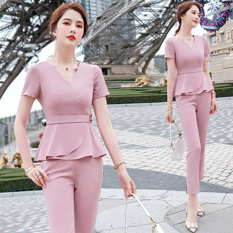 Casual Fashion Suit Women's 2021 Summer New High-End Ladies Elegant Slightly Mature Style Western St