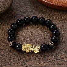 PIXIU Bracelet pour femmes hommes or rouge noir perles Couple Bracelet apporter chanceux courageux richesse Feng Shui Bracelets pour hommes