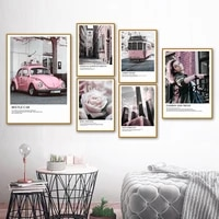 fashion girl pink rose tram car wall art canvas painting nordic posters and prints landscape wall pictures for living room decor