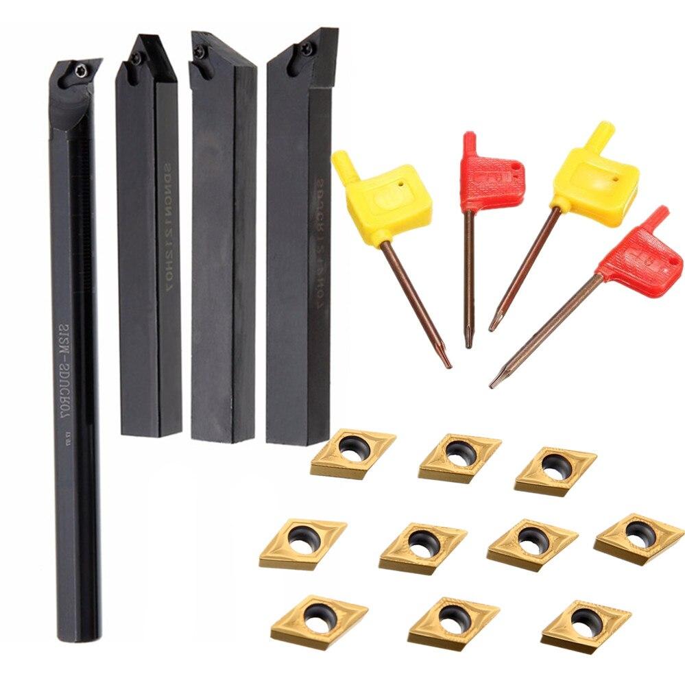 4pcs Lathe Turning Tool Boring Bar Holder 12mm Shank Diameter + 10pcs High Hardness DCMT0702 Carbide Inserts+ 4pcs Wrench
