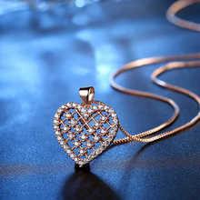 Женское Ожерелье хрустальное ожерелье с подвеской бадминтон Сетка Любовь в форме сердца розовое золото серебристый блестящий цвет камень CZ ожерелье ювелирные изделия