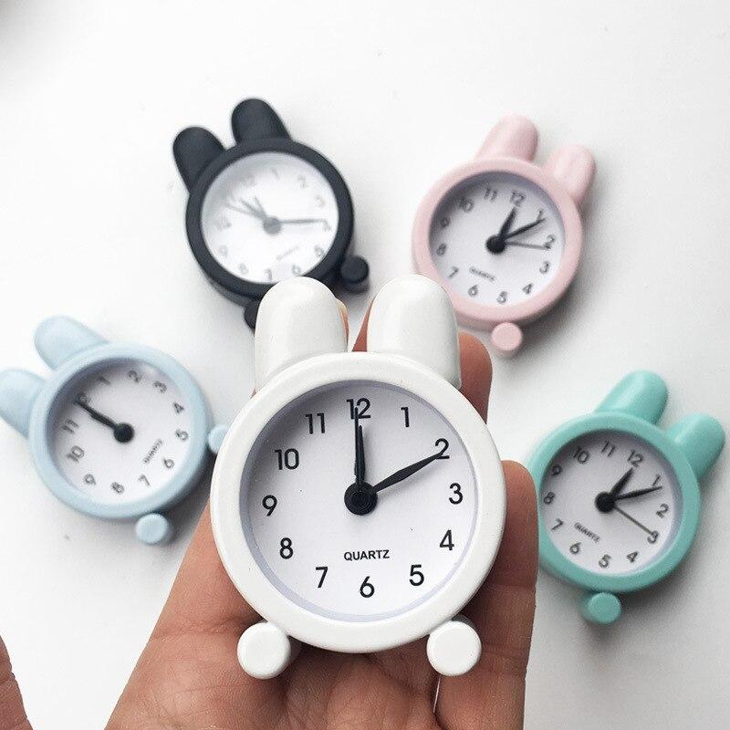 Coelho criativo bonito mini metal pequeno despertador crianças estudante papelaria presentes
