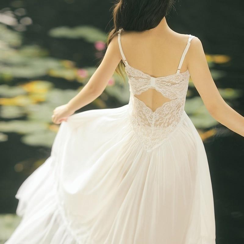 2021 luxury quality fashion women's V-neck dress high-end white lace splicing sexy backless temperament elegant wedding dress