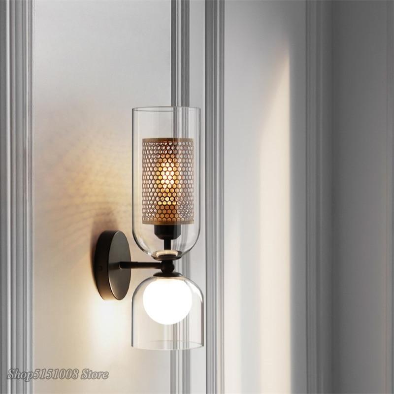 مصباح جداري LED زجاجي على الطراز الاسكندنافي ، شمعدان ، تصميم إبداعي حديث ، إضاءة زخرفية داخلية ، مثالي لغرفة النوم أو الفندق أو المقهى أو الرد...