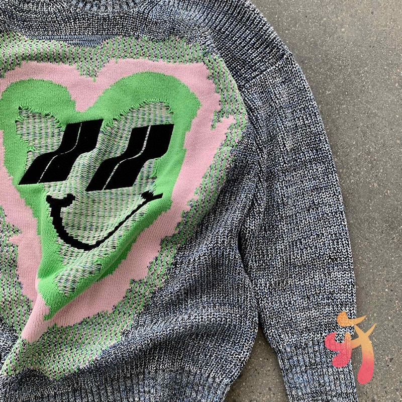 We11done Sweaters Men Women Knitwear Hearty Smile Large Size Embroidered Sweater Welldone Casual Pullover enlarge