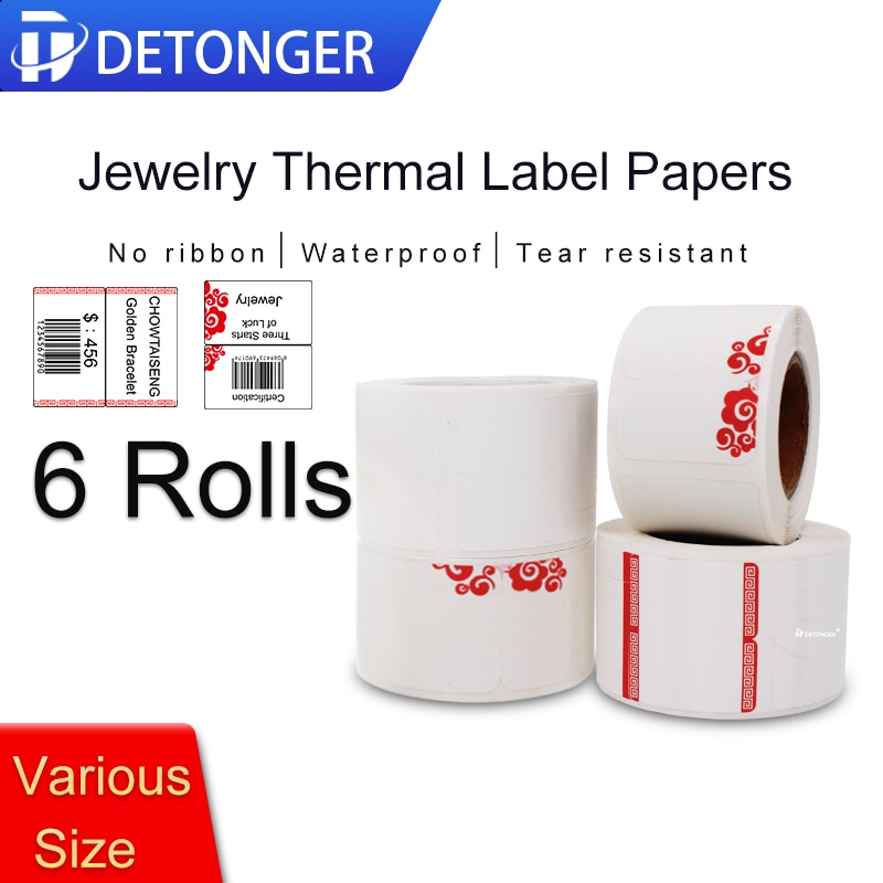 Jelwery Label Priting Paper 6 Rolls Thermal Label Printer Paper Stick Pring Paper Waterproof Oilproof Scratchproof