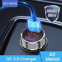 Металлический QC 3,0 цифровой светодиодный дисплей двойной USB Автомобильное зарядное устройство для Мобильный телефон быстрое зарядное устр...