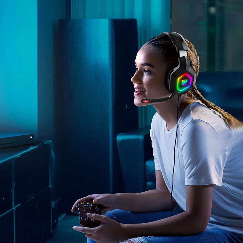 ONIKUMA K10 RGB Gaming Headset Wired COMPatible for PS4/COMPuter/Headset AdAPter/ ONE  ONE S/Tablet/Mobile Phone enlarge