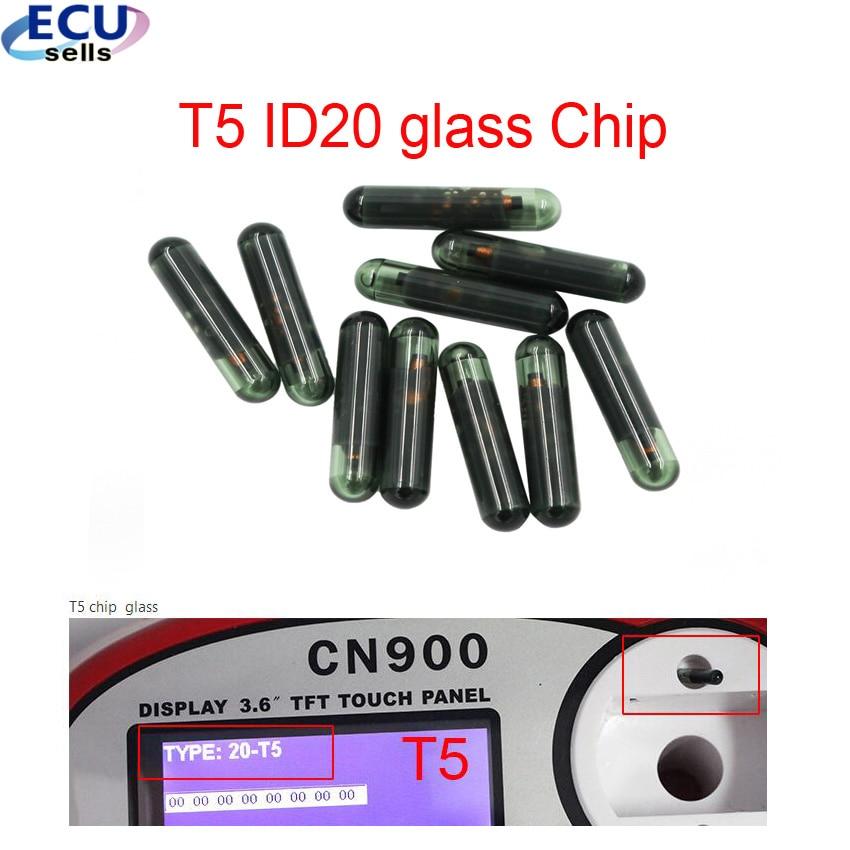 10 pçs x chip chave do carro em branco t5 transponder vidro virgem t5 id20 chip para honda 2.3 passat b4 elysee buick