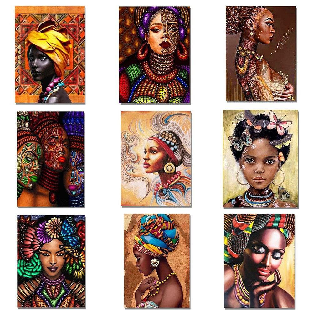 Kexinzu nova 5d pintura diamante mulher africana ponto cruz broca redonda cheia diamante bordado para venda mosaico imagens de diamante