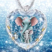 exquisite fashion creative elegant crystal glass shining eyeball woman necklace elephant mother and child pendant charm jewelry