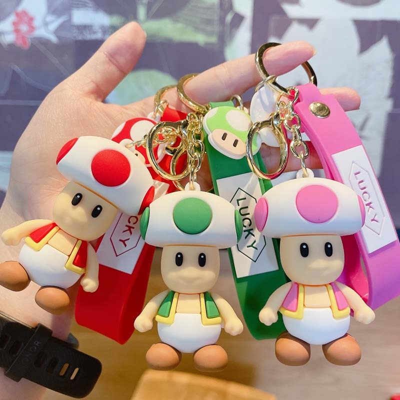 Anime Figure Cartoon Toad PVC Soft Rubber Doll Metal Keychain Bag Key Ring Ornaments Accessories Children's Toys Birthday Gifts diabolik lovers anime sakamaki ayato kanato laito shu reiji subaru mukami ruki samurai kimono rubber japanese rubber keychain