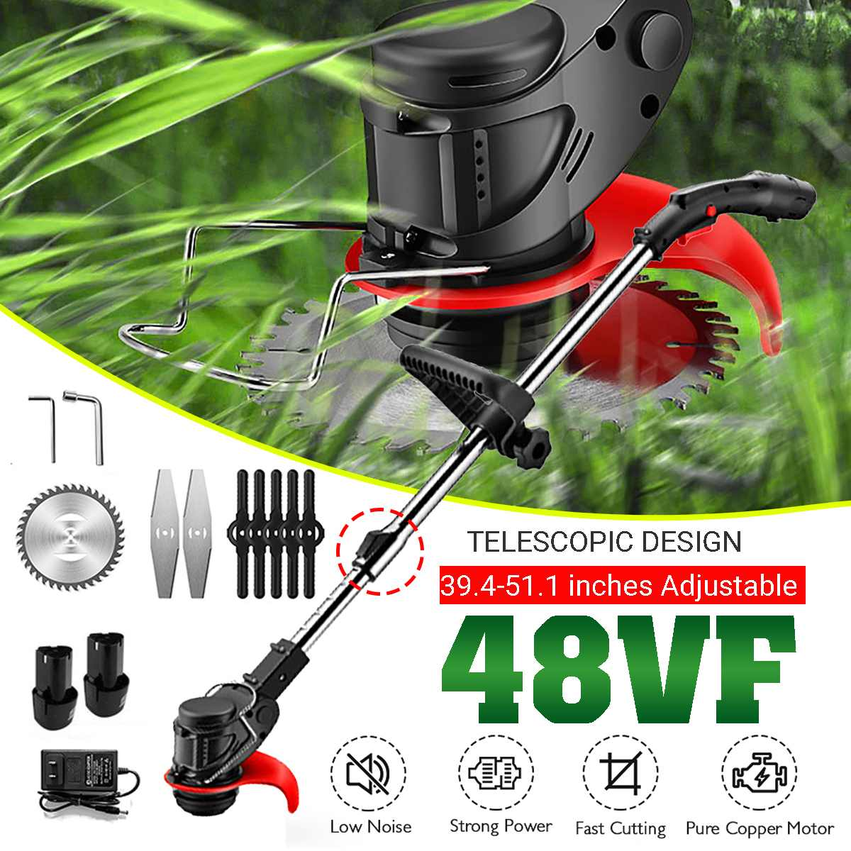 48VF Portable Electric Grass Trimmer Handheld Lawn Mower Agricultural Household Cordless Weeder Garden Pruning Tool