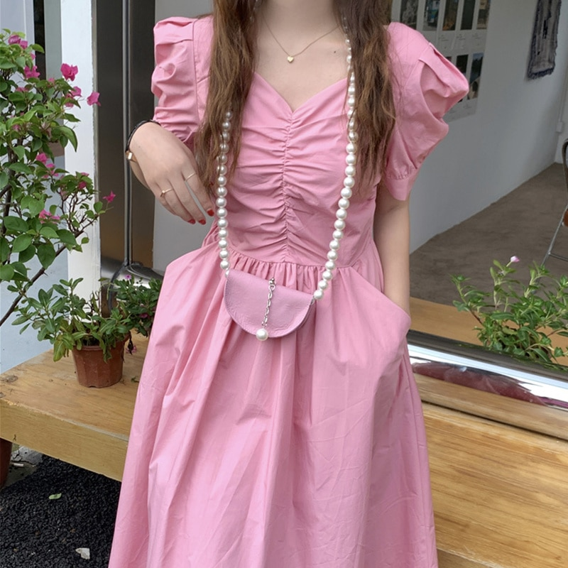 Korean Chic Summer French Style Collar Leaky Clavicle Pleated High Waist Bubble Sleeve Dress Pearl C