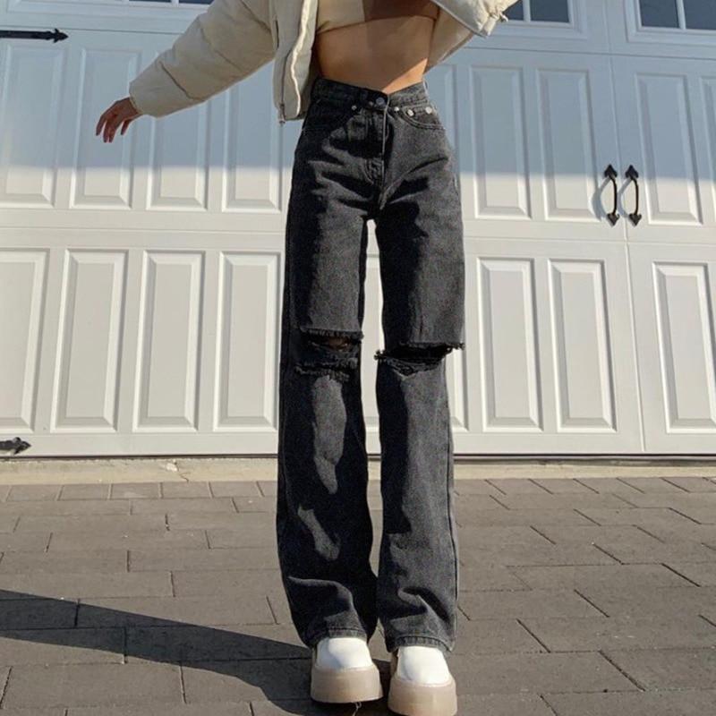 YIICYA عادية ممزق جينز ممزق صديقها الصيف حفرة عالية الخصر سراويل جينز طويلة السيدات سراويل أنيقة ملابس الشارع الشهير 2021