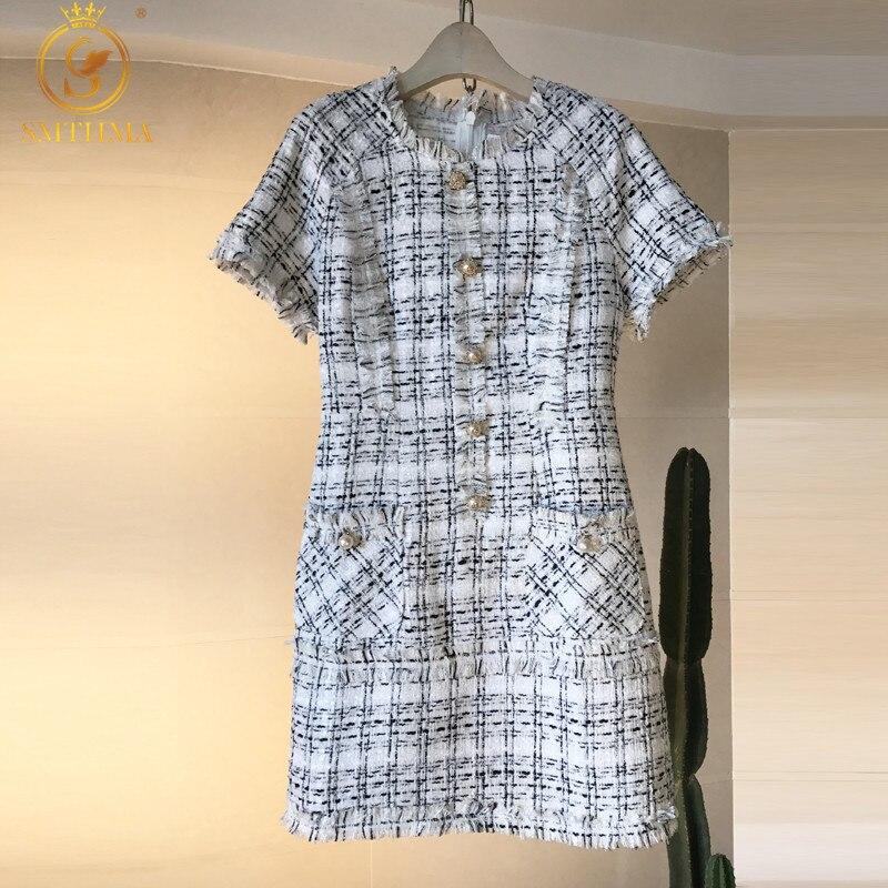 SMTHMA-robe en Tweed à carreaux à manches courtes, robe élégante en laine Vintage, collection nouveauté