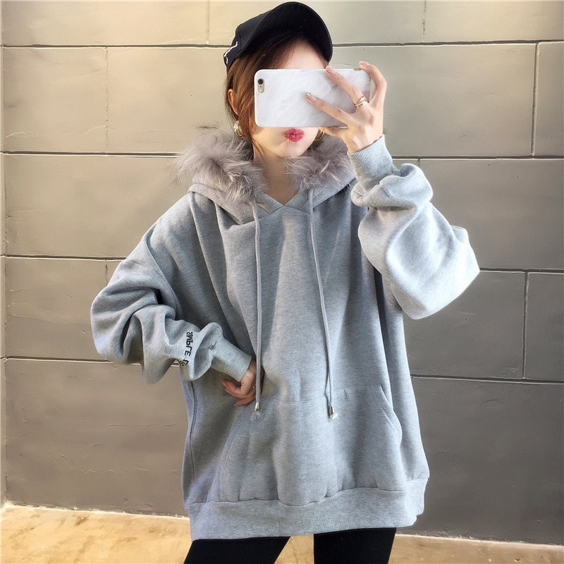 Real Shot Hoodies Plus Cashmere Fur Collar Sweater Women's Autumn And Winter Clothing