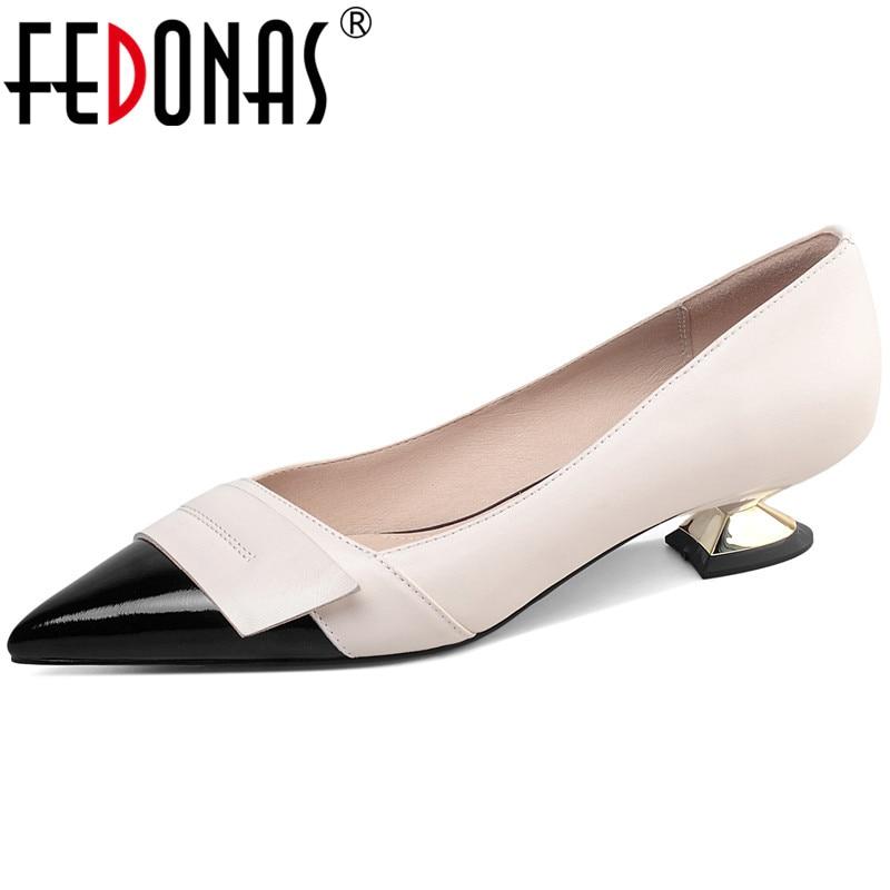 FEDONAS 2021 الصيف الخريف حقيقية أحذية من الجلد للمرأة الإناث أحدث موجزة عالية الكعب مضخات أحذية الحفلات الزفاف امرأة