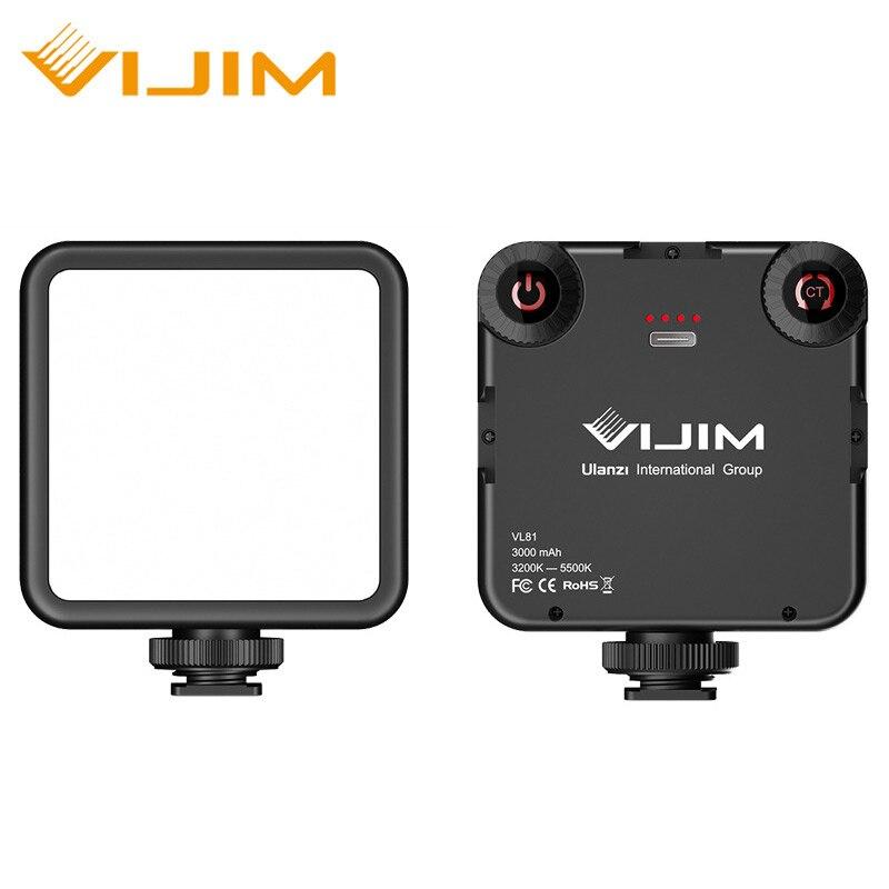 VIJIM VL81 3200k-5600K 850LM 6.5W Regulable Mini luz de relleno Vlog portátil Luz de video LED con zapata fría Luz de relleno de batería incorporada de 3000mAh para lente de teléfono móvil anillo de luz para hacer