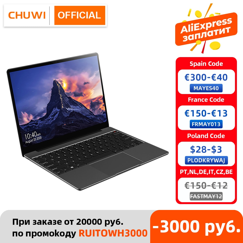 aliexpress.com - CHUWI GemiBook 13″ 2K IPS Screen LPDDR4X 12GB 256GB SSD Intel Celeron Quad Core Windows 10 Laptop with Backlit Keyboard