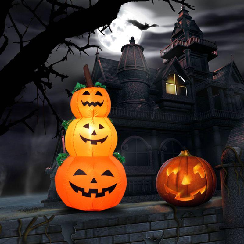 3 faroles inflables de calabaza de 4 pies para Halloween, decoración artística para el patio (EU)