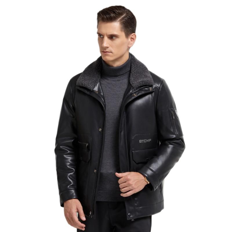 2020 Fashion Men's Leather Down Jacket Wool Turn-down Collar Casual Short Business Men's Jacket Winter Jacktes Men Black, M-4XL