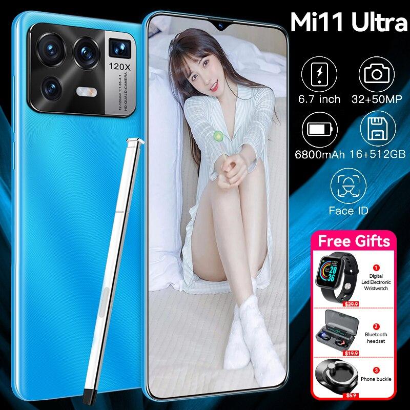 هاتف ذكي نسخة عالمية من Xioa Mi11 بشاشة 6.7 بوصة فائق الدقة 16 جيجابايت + 512 جيجابايت 6800 مللي أمبير في الساعة نظام أندرويد 10.0 شاشة كاملة عالية الدقة م...