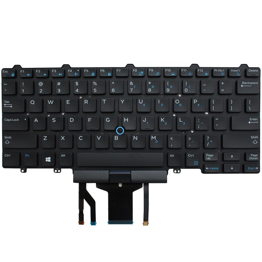 Teclado retroiluminado de reemplazo del diseño de EE. UU. Para Dell Latitude E7470 E5470 E7450 Laptop sin marco, con puntero y retroiluminación